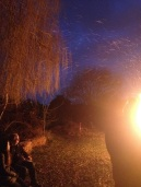 wassailing bonfire ablaze